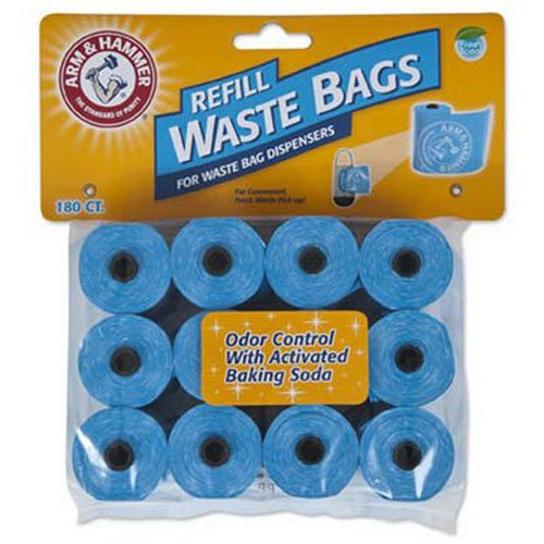 Petmate Arm & Hammer 71039 Disposable Waste Bag Refills, Blue, 180-Pack