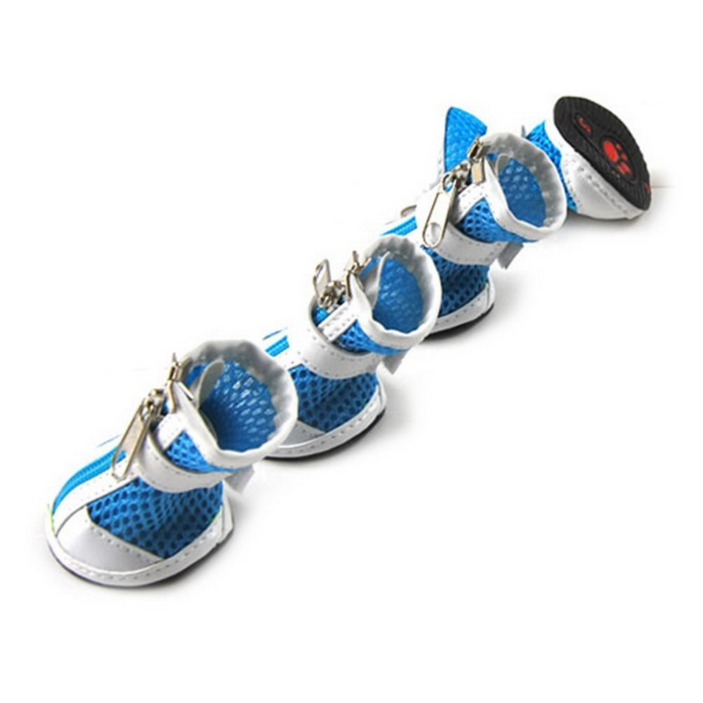 ZUNEA Small Dog Shoes for Hot Pavement Summer Breathable Mesh Boots Adjustable Non Slip Zipper Pet Dogs Cat Booties White PU Paw Protector Blue XS