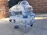 NEW 3 Level Sparkle Clear Transparent Syrian Hamster Mice Mouse Rat Cage With Large Top Running Ball (Blue)