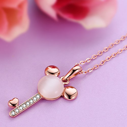 924a5e960 Necklace,Rose Gold Plated Mouse Cat Eye Stone Key Pendant for - Import It  All