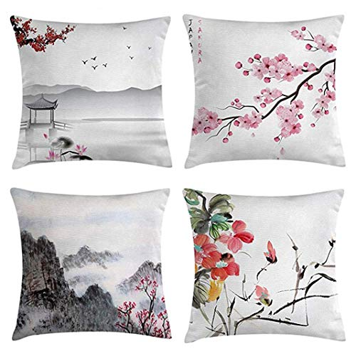 Emvency Set of 4 Throw Pillow Covers Asian Japanese Pink Cherry Art White Garden Bird Small Pavilion Decorative Pillow Cases Home Decor Square 18x18 Inches Pillowcases from Emvency