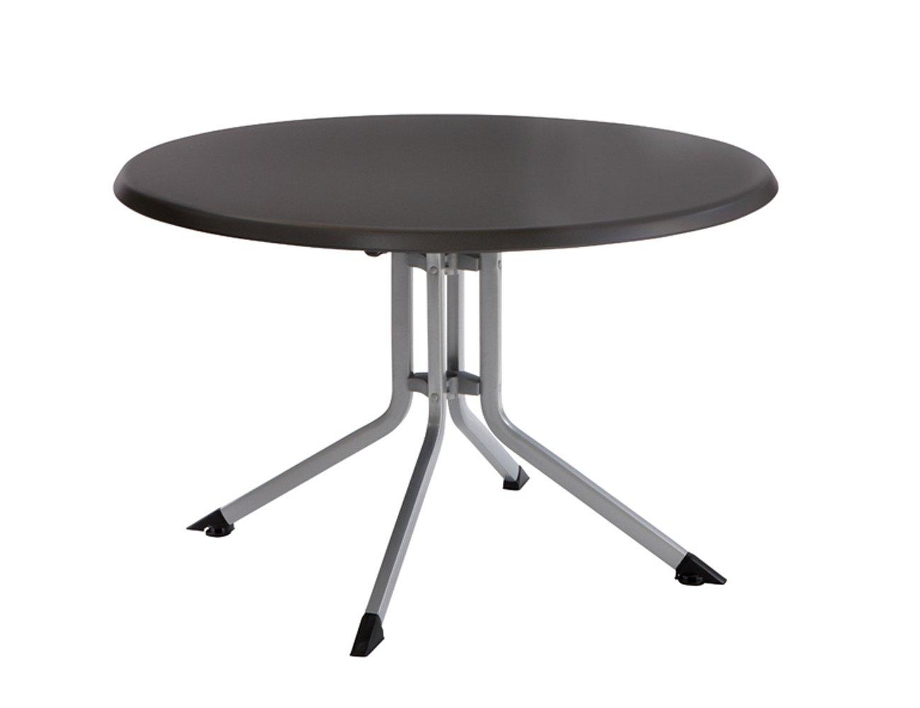Kettler Klapptisch Boulevard 100 cm – runder Gartentisch mit Aluminiumgestell und KETTALUX-PLUS Tischplatte – silber & anthrazit