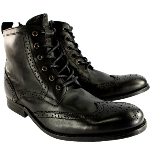Hombre H By Hudson Angus Brogue Leather Lace Up Smart Botines Negro