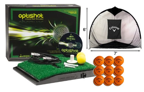Find Discount OptiShot Golf Simulator Bundle - Includes Callaway Net, 18 HX Practice Balls