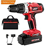 "Cordless Drill, 18V Power Drill Driver Kit with 2 PACKS of Ni-Cad Battery, 3/8"" Keyless Chuck, Variable Speed, 19+1 Position and LED Work Light, Masterworks MW312"