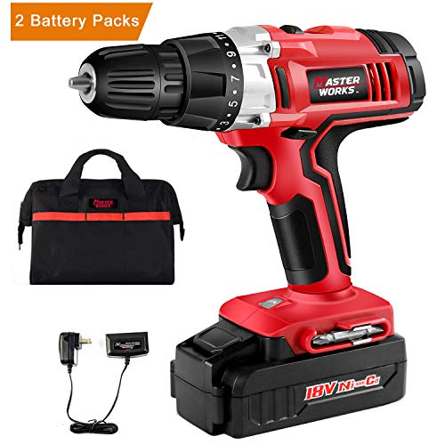 "Cordless Drill, 18V Power Drill Driver Kit with 2 PACKS of Ni-Cad Battery, 3/8"" Keyless Chuck, Variable Speed, 19+1 Position and LED Work Light, Masterworks MW312 by Masterworks"