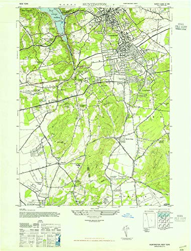 YellowMaps Huntington NY topo map, 1:24000 Scale, 7.5 X 7.5 Minute, Historical, 1947, 28.9 x 22 in - ()