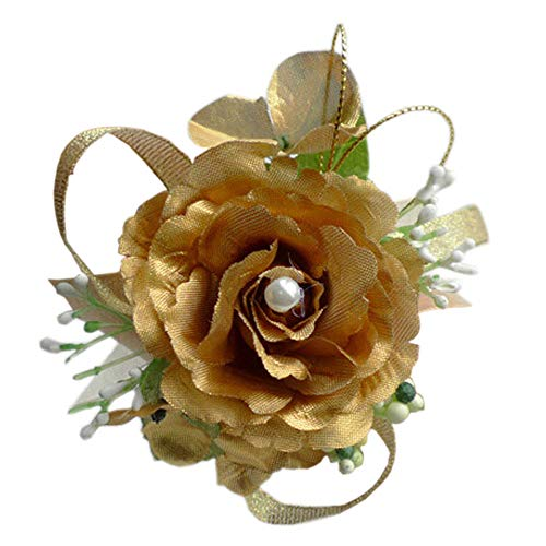 Arlai Wrist Corsage wristband Roses Wrist Corsage for Prom, Party, Wedding Gold