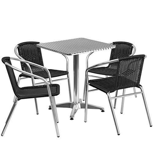 MFO 23.5'' Square Aluminum Indoor-Outdoor Table with 4 Black Rattan Chairs