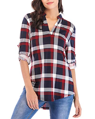 Womens Plaid Shirts Tops V Neck Henley Oversized Plaid Gingham Shirts roll Sleeve Blouses Plus Size Causal Loose Soft Dressy Hem Home Wear Autumn Clothes XL Red 2