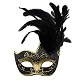 Feather Masquerade Mask,Venetian Costume Christmas Party Mask.(Black)