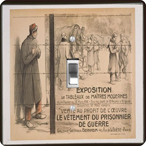Rikki Knight RK-LSPS-3724 Vintage Posters Art Prisoner Of War Design Light Switch Plate (Newspaper Ad Cover)