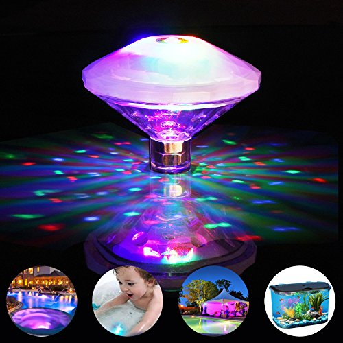 Floating Fountain (Swimming Pool Lights Floating Underwater LED Pond Lights for Hot Tub, Baby Bathtub, Fountain, Disco Pool Party or Pond Decorations - 7 Modes, Waterproof, Battery Operated)
