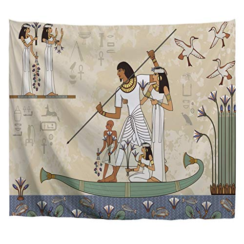 A.Monamour Ancient Egypt Banner Egyptian Hieroglyph and Symbol Anubis Ancient Egypt Boat Scene Murals Art Print Polyester Fabric Banners Wall Hanging Tapestry Window Curtain Art Decors -