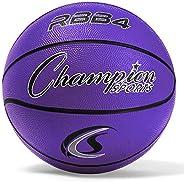 Champion Sports Heavy Duty Rubber Cover Nylon Basketballs-Intermediate (Purple, Size 6)