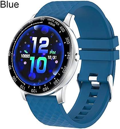 QXbecky Reloj táctil Completo Reloj Inteligente Hombre presión ArterialIP68Impermeable rastreador de Fitness Reloj Mujer paraAndroidBlue