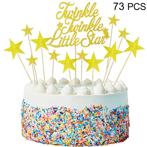 Blulu Glitter Star 1 Twinkle Twinkle Little Star Cake Topper, Glitter Star Cake Toppers and 72 pieces Little Star Cupcake Toppers for Birthday Wedding Engagement New Years Eve Party Decorations
