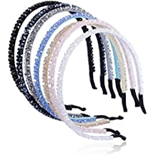 Cfrmall Girls / Women Ribbon or Jewelry Crystal Pearl Headbands (7Pcs Set Girls / Women Flower Pattern Crystal Sparkle Headbands)