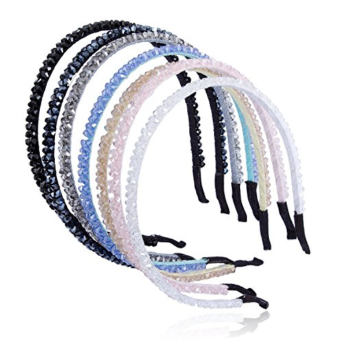 Cfrmall Girls / Women Ribbon or Jewelry Crystal Pearl Headbands (7Pcs Set Girls / Women Flower Pattern Crystal Sparkle - Fancy Girl Ribbon