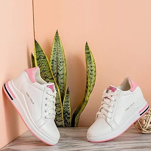 ZHZNVX a donna Punta Comfort zeppa da Pink Verde Sneakers Nero Scarpe poliuretano Rosa Autunno PU Tacco tonda rqArwg