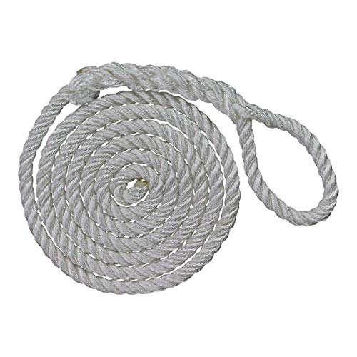 SGT KNOTS Boat Fender Lines 4-Pack Twisted Nylon Boat Fender Rope - White Boat Bumper Rope Bundle - Fender Line for Boats - Marine Fenders Ropes (3/8 in x 6 ft)