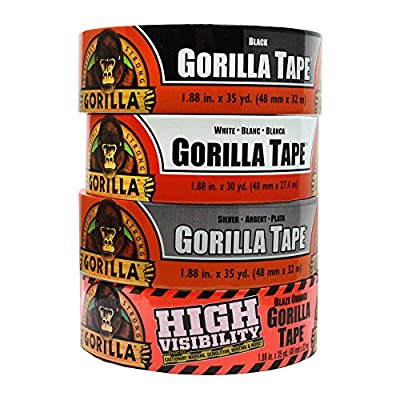 Gorilla Tape Large Roll Tough Pack including Black, White, Silver and Blaze Orange Duct Tape by The Gorilla Glue Company