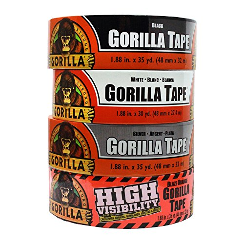 Gorilla Tape Large Roll Tough Pack including Black, White, Silver and Blaze Orange Duct Tape by Gorilla