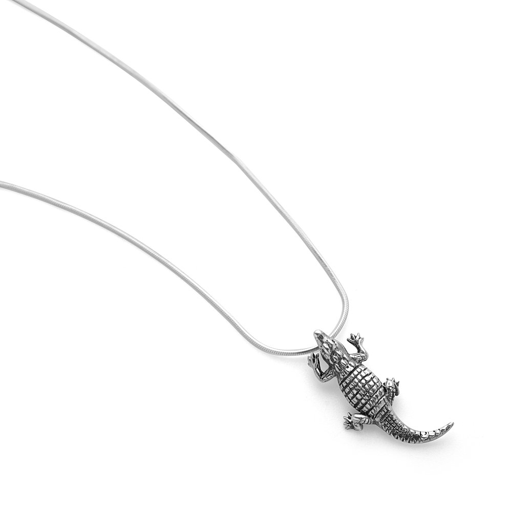 SUVANI 925 Oxidized Sterling Silver 3-D Crocodile Alligator Pendant Unisex Necklace 18 inches Chain
