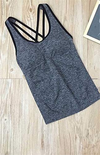 SGYHPL Frauen Pro Gym Sport Tank Mit Brustpolstern T-Shirt Yoga Workout Weste Fitness Training Übung Laufbekleidung Compress Tee Top L Grau Schwarze Linie