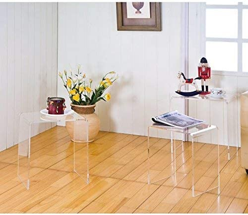 Studio Designs Home Camber Modern 20 and 14.5 Round Set of Nesting Tables in Gold Clear Glass