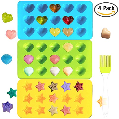 Ice Pastry (IHUIXINHE Candy Molds & Ice Cube Trays Hearts, Stars & Shells Silicone Chocolate Molds Fun, Toy Kids Set 3PCS – 1PC Silicone Pastry Oil Brush Incl)