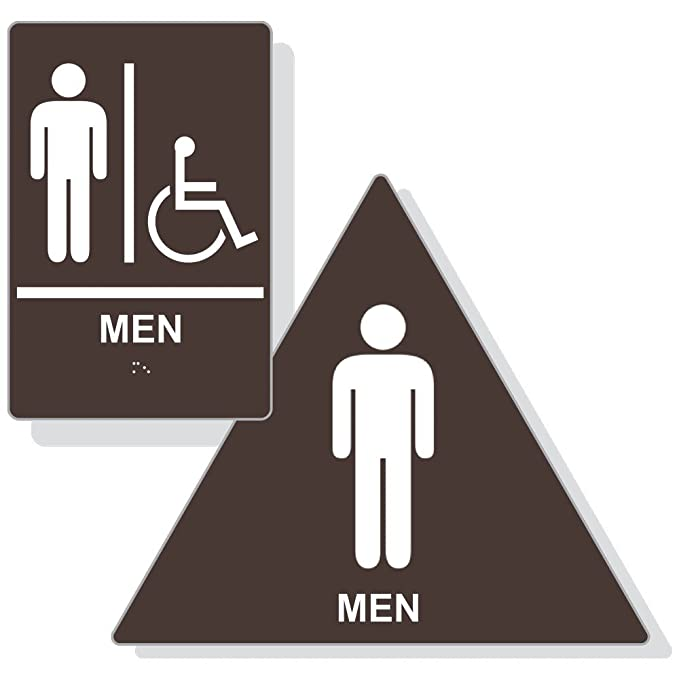 Amazon.com: Ada hombre baño emparejado Set, Braille cartel + ...