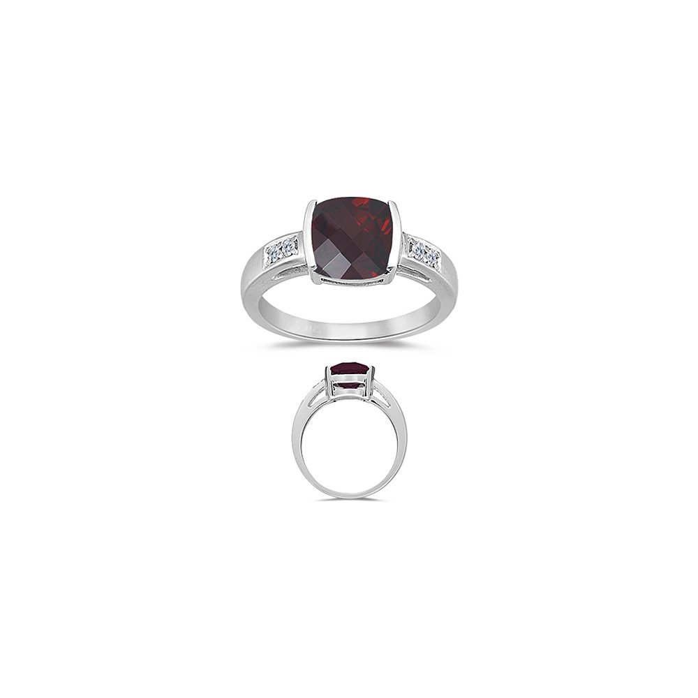 Cyber Monday Sale - Garnet Ring - AAA Garnet & Diamond Ring in 14K White Gold-8.5