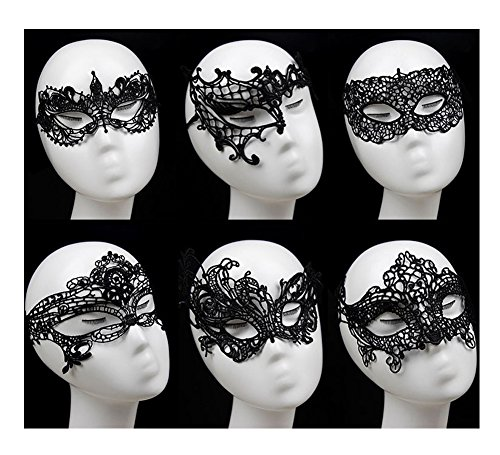 [Venetian Masquerade Mask,6 Pack Gellwhu Women Sexy Black Lace Masks for Masquerade Ball] (Soft And Sexy Mask)