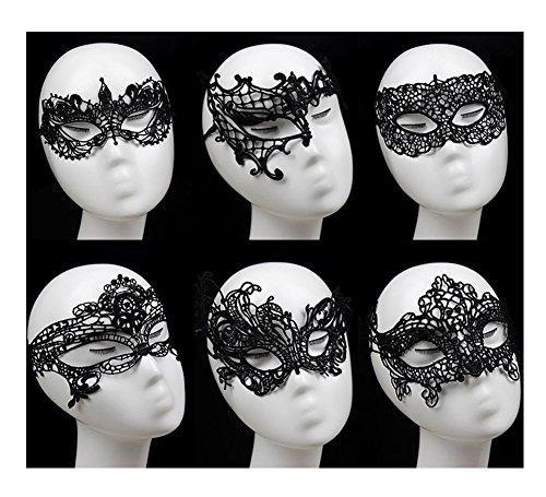 [Venetian Masquerade Mask,6 Pack Gellwhu Women Sexy Black Lace Masks for Masquerade Ball] (Black Lace Masquerade Masks)