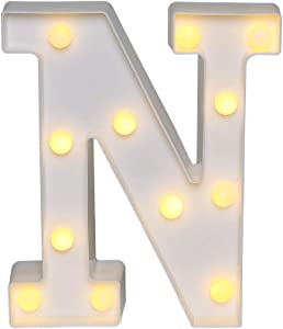 Akana Led Marquee Letter Lights Sign, Warm White Led Letter Lights Up 26 Alphabet Letter Light, Battery Operated Night Lights for Confession Wedding Party Birthday Christmas Home Bar Decoration (N)