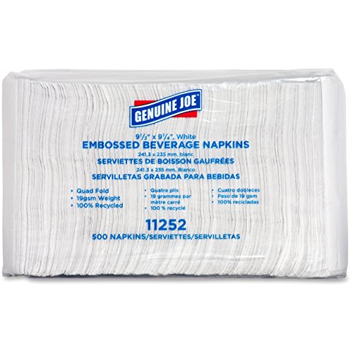Genuine-Joe-GJO11252-Quad-Fold-Square-Beverage-Napkin-2-Ply-9-12-Length-x-9-12-Width-White-Carton-of-4000