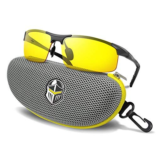 BLUPOND Night Driving Glasses - Semi Polarized Yellow Tint HD Vision Anti Glare Lens - Unbreakable Metal Frame with Car Clip Holder - Knight Visor (Titanium)