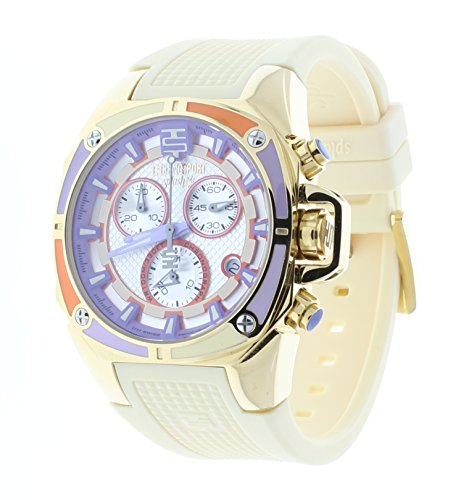 Technosport Swiss Chronograph Beige Silicone Strap 38mm Shiny Gold Case Women's Watch TS-100-Splash5