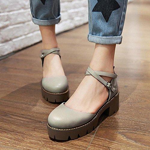 FANIMILA Mujer Moda Dedo Del Pie Cerrado Tacon Ancho Sandalias Vintage Al Tobillo Zapatos for Chicas Gris