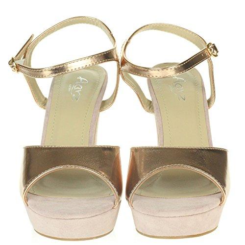 AARZ LONDON Frau Damen Abend Hochzeit Party Abschlussball Schimmern Plattform Hohe Blockabsatz Sandalen Schuhe Größe Champagner
