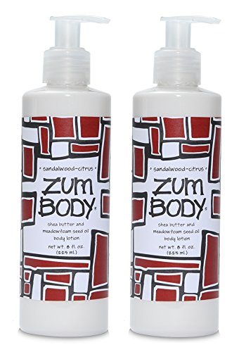 Zum Sandalwood-Citrus Body Lotion (Pack of 2) with Dandelion, Red Clover, Shea Butter, Aloe, Meadowfoam Seed Oil, Avocado, Jojoba Oil, Sweet Almond, Rosemary, Chamomile, Sea Kelp and Ginseng, 8 oz ()