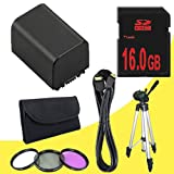 BP-819 Lithium Ion Replacement Battery + 16GB SDHC Class 10 Memory Card + 43mm 3 Piece Filter Kit + Mini HDMI Cable + Full Size Tripod for Canon Vixia HFM40 HFM41 HFM400 HV30 Digital Camcorders DavisMAX BP819 Accessory Bundle