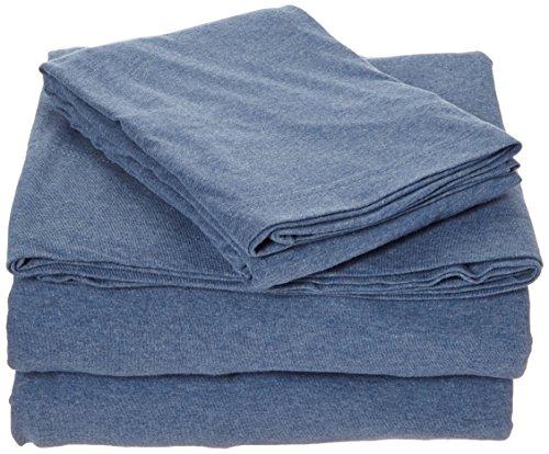 Coyuchi Organic Jersey Sheet Set, King, Deep Blue Heather