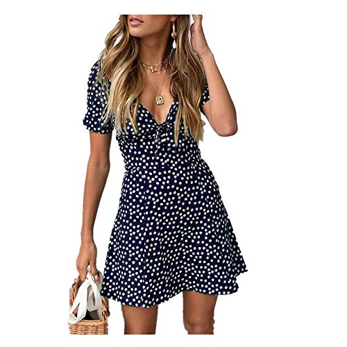 Women Tunic Tops Dresses Lady Floral Halter Bandage Sleeveless Outfit Evening Party Mini Dress