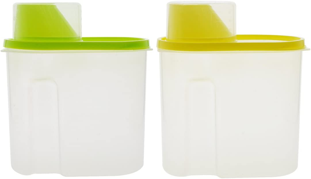 Airtight Container,Saim 1.9L Cereal Container with Pour Spout and Measuring Cup Plastic Clear Food Saver Watertight Cereal Keeper Food Storage Containers for Rice Grain Cereal Oatmeal Sugar Nuts Beans