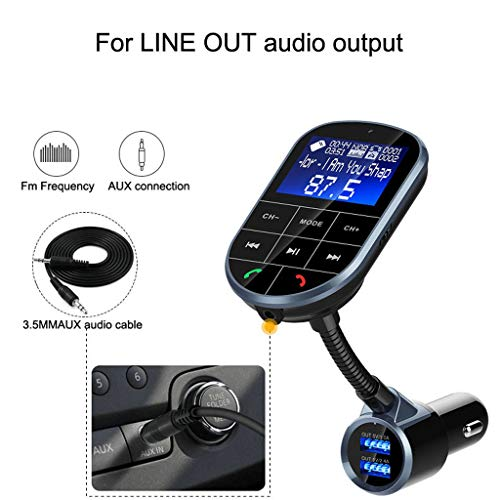 MaxFox for Bluetooth Car USB Charger FM Transmitter Hands-Free MP3 Player 1A/2.4A