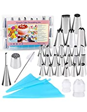 32 Pieces Cake Decorating Supplies, Gyvazla Cake Decorating Tip Set with 20 Stainless Icing Tips, 5 Large Piping Nozzles, 1 Grass Nozzle, 1 Puffs Tip, 2 Couplers, 1 Brush, 2 Silicone Pastry Bags