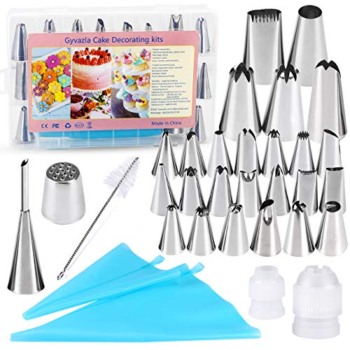 32 Pieces Cake Decorating Supplies, Gyvazla Cake Decorating Tip Set with 20 Stainless Icing Tips, 5 Large Piping Nozzles…
