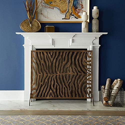 暖炉スクリーン ゼブラ柄、シングルパネル暖炉フェンススパークガード用暖炉/ストーブ/グリル付きブラウン暖炉スクリーン、100×22×81センチメートル
